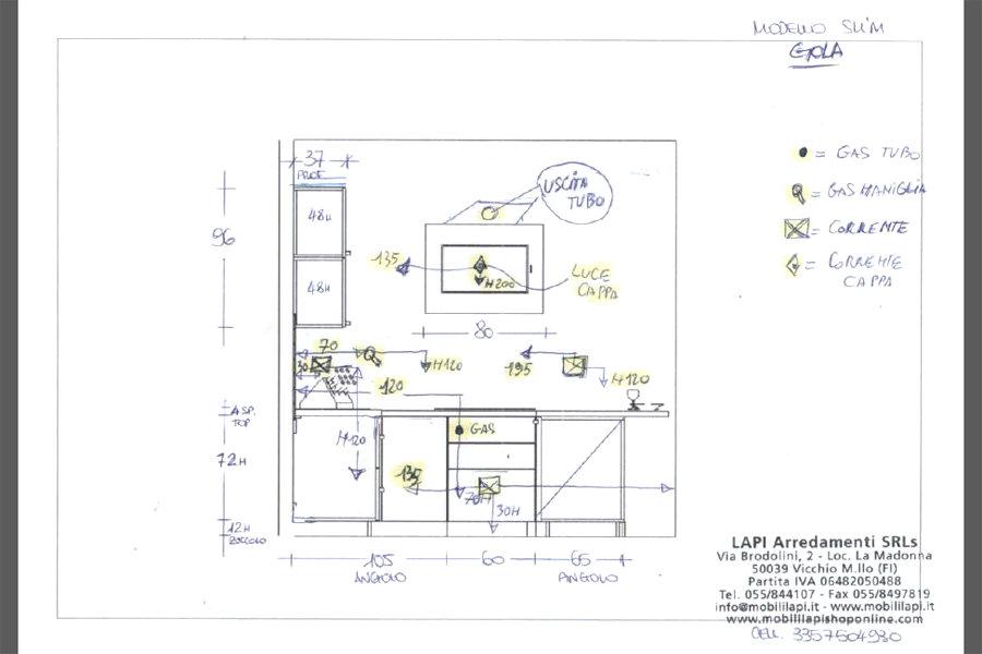Cucina moderna con penisola (GC-CUC005) - disegno.
