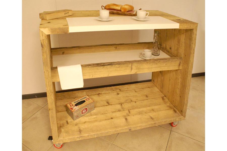 Bancone da cucina in legno di recupero (XN-BAN001) - Mobili su ...