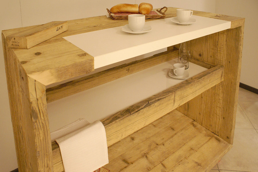 Bancone da cucina in legno di recupero xn ban001 mobili su misura a firenze lapi arredamenti - Bancone cucina legno ...