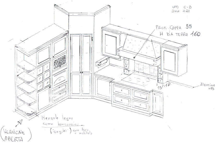 Cucina in finta muratura pp cfm001 mobili su misura a - Cucina muratura progetto ...