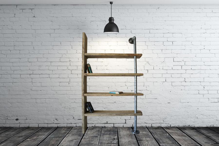 ... serie X-TUBE Natura con mobili in legno di recupero e tubi in acciaio