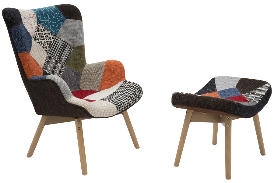 Poltroncina in tessuto patchwork (ZFLF449-450)