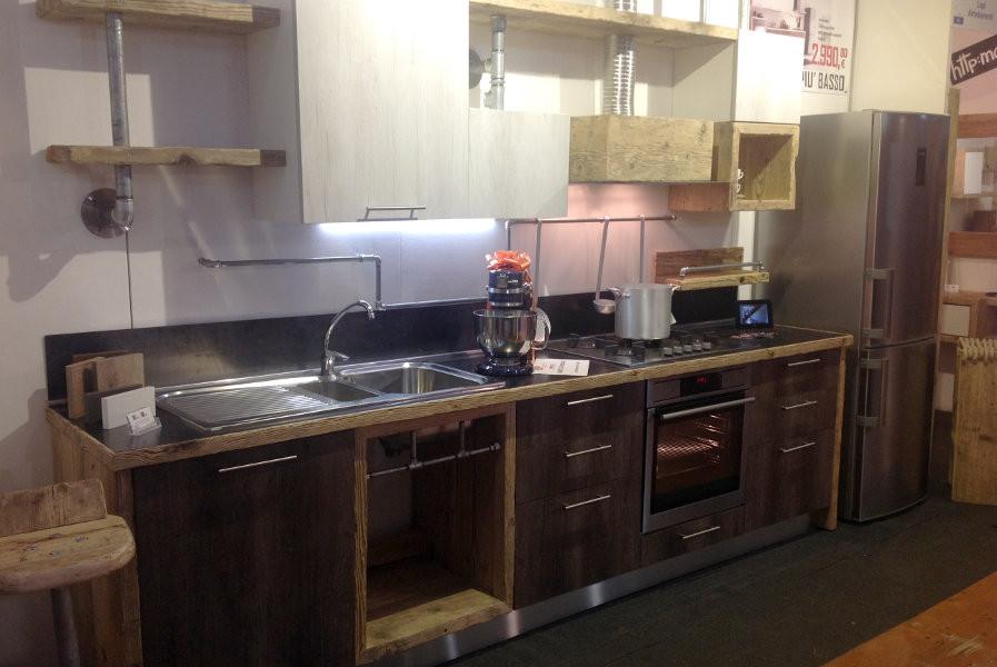 Cucina in legno di recupero e tubi in acciaio (XT-CUC001) - Mobili ...