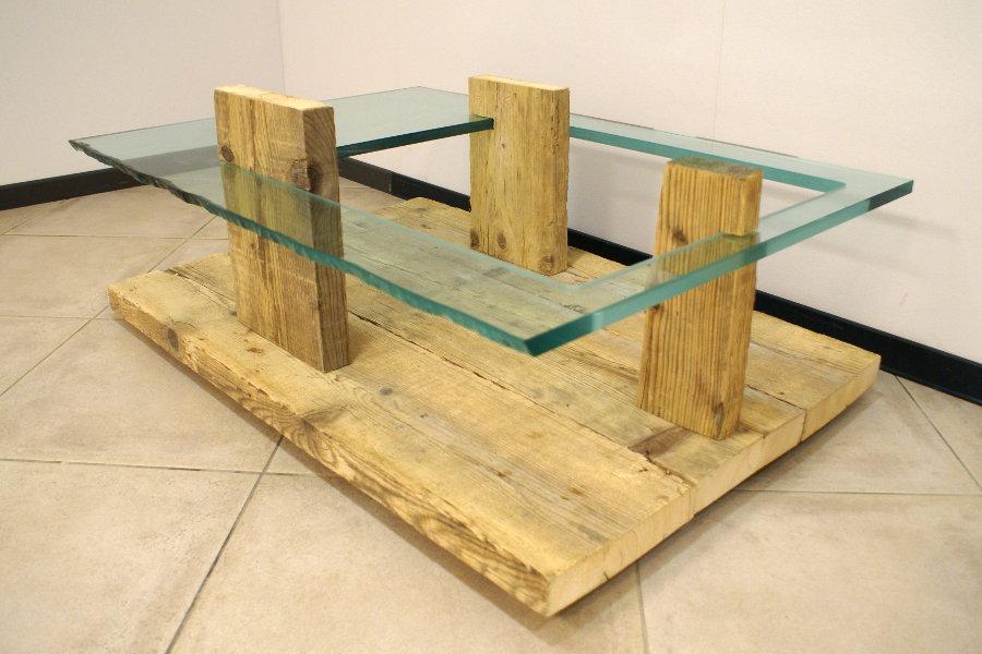 Tavolino In Legno Di Recupero E Vetro (XN-TAV003)