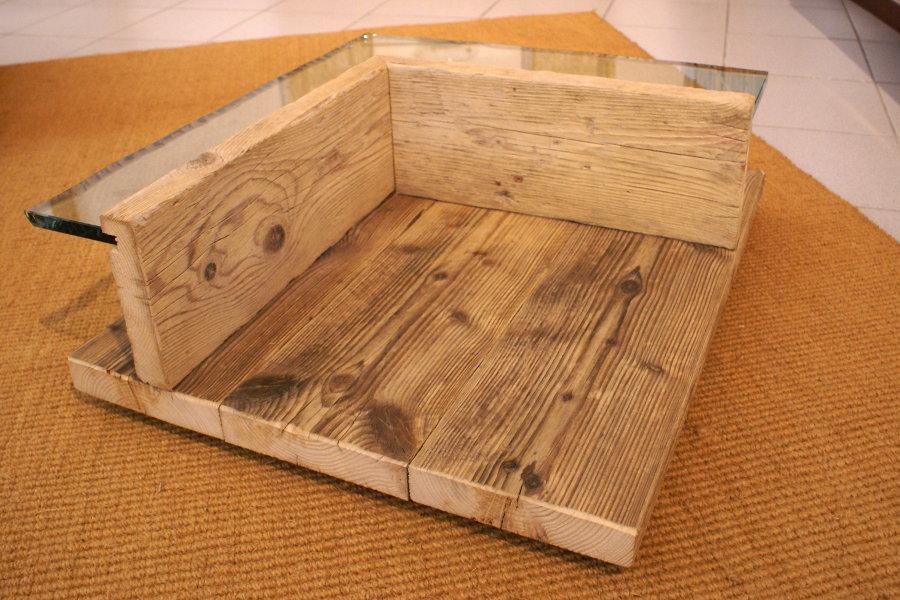Tavolino in legno di recupero e vetro (XN-TAV005) - Mobili su misura a Firenze - Lapi Arredamenti