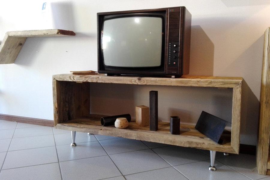 Sedia in legno di recupero e tubi in acciaio xt sed002 - Mobili legno recupero ...