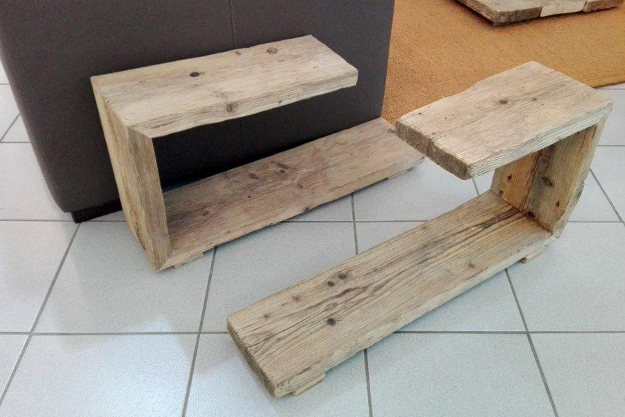Tavolino In Legno Di Recupero (XN-TAV004) - Due Elementi Separati