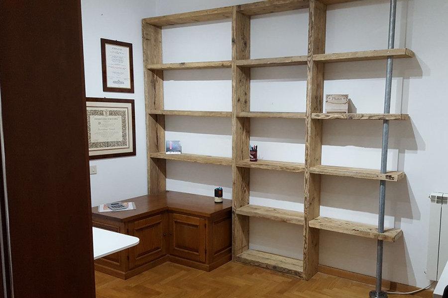 Libreria In Legno Di Recupero E Tubi Acciaio (XT-COM007)