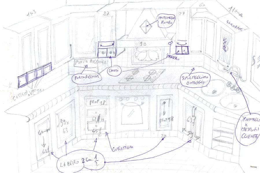 Cucina in vera muratura (PP-CM001) - Mobili su misura a ...
