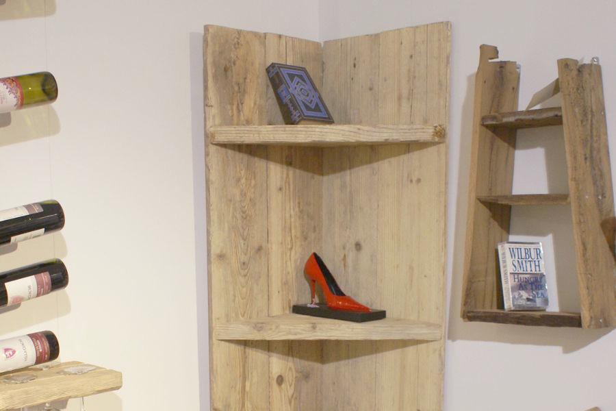 Libreria In Legno Di Recupero E Acciaio (XN-ANG001)