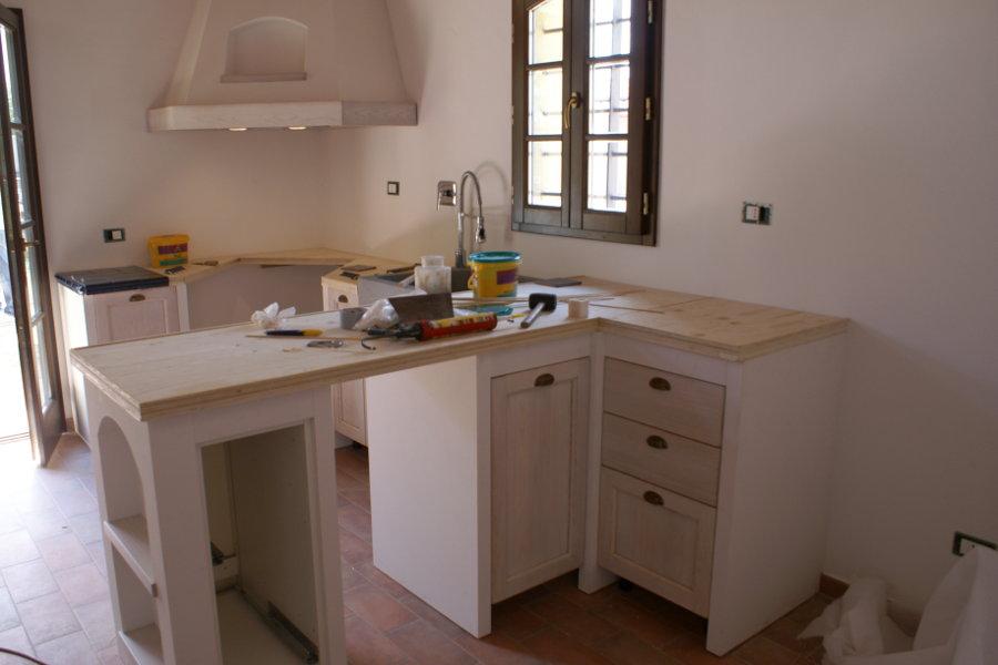 Cucina in finta muratura con top blu (PP-CFM023) - Mobili su ...