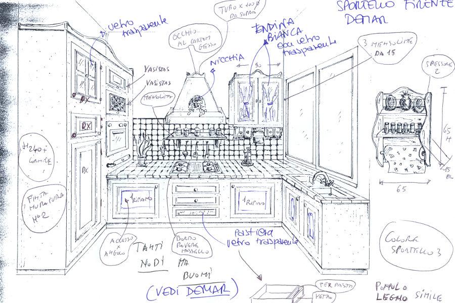 Cucina in finta muratura in abete color naturale (PP-CFM019 ...