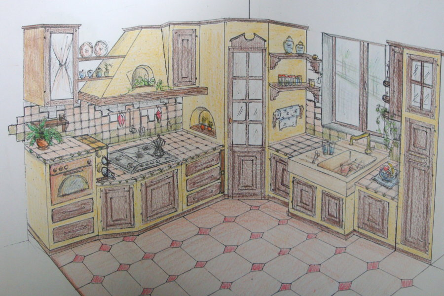 Cucina in finta muratura (PP-CFM013)Cucina in finta muratura (PP-CFM013) - disegno