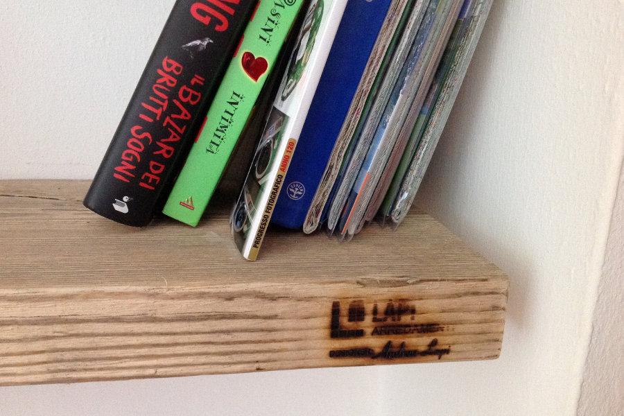 Libreria In Legno Di Recupero E Tubi In Acciaio (XT-LIB008)
