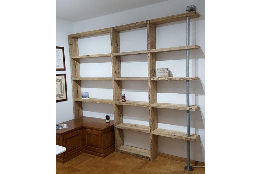 Foto Di Librerie In Legno.Libreria In Legno Di Recupero E Tubi Acciaio Xt Com007 Mobili