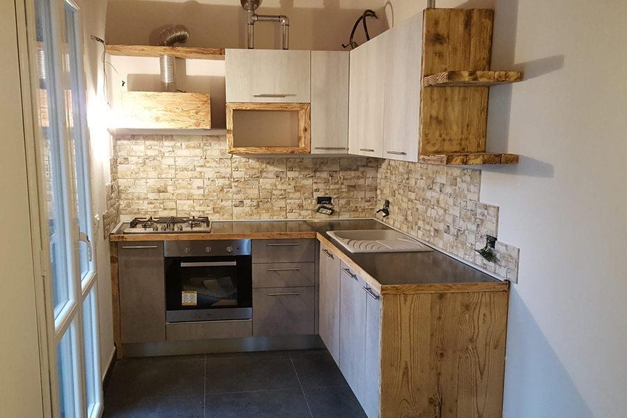 Cucina in legno di recupero e tubi acciaio (XT-CUC005) - Mobili su ...