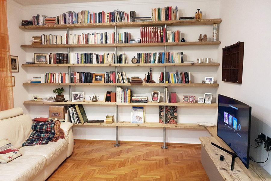 Libreria Legno Vecchio E Tubi Acciaio (XT-LIB017)