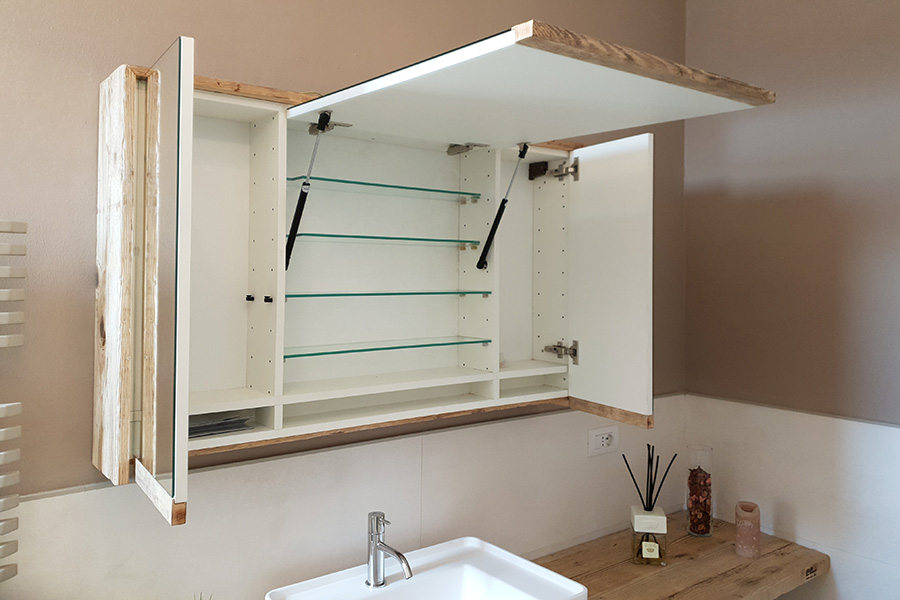 Arredo Bagno In Legno Di Recupero (XN-BAG003) - Pensile Specchio Aperto