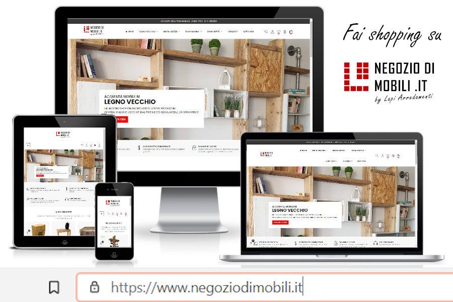 Ecommerce di arredamento, mobili in legno vecchio e in legno grezzo