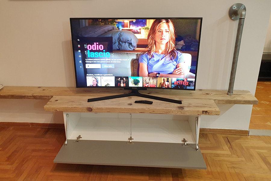 Porta Tv Legno Vecchio E Tubi Acciaio (XT-LIB017)